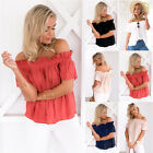 UK Plus Size Womens Off Shoulder Ladies Casual Summer Tops T-Shirt Blouse 6-20