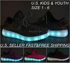 Kids Youth LED Light Up Sneakers Luminous Shoes Boys Girls USB Charger Lace Up