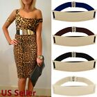 waist belts fashion - US SHIP Women Waist Hip Wide Gold Metal Plate Fashion Black Elastic Belt 27