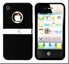 Deluxe 2 Piece Snap-on Hard Back Case Cover With Kickstand for iPhone 4/4s