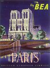 Paris French air art Vintage painting Travel Poster Print Glass Frame 90cm