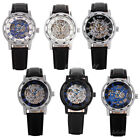 Luxury Black Dial Mens Skeleton Stainless Steel Automatic Mechanical Wrist Watch image