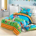 Super Mario Bros. Kids Bedding Set Duvet Cover Flat Sheet Pillow Case Twin/Full