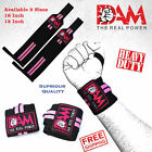 DAM WEIGHT LIFTING GYM TRAINING WRIST SUPPORT STRAPS BODYBUILDING BLACK & PINK