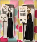 NEW MICHAEL KORS KEY CHARMS LARGE LEATHER TASSEL KEY FOB CHAIN IN BLACK $58