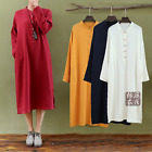 Womens Vintage Linen Cotton Loose Stand Collar Dress Long Gown Casual Dresses J8