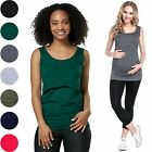 Happy Mama. Women's Nursing Double Layered Vest Top Round Neck Sleeveless. 042p