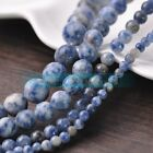 Round Natural Blue & White Stone Loose Spacer Beads 4/6/8/10mm Jewelry Findings