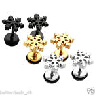 Pair 16G Stainless Steel Snowflake Ear Studs Jewelry Earrings Piercing Gift New