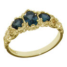 10k Yellow Gold Natural London Blue Topaz Womens Trilogy Ring - Sizes 4 to 12
