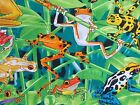 Dart Frogs Fabric Bright Green Quilting Cotton Timeless Treasures BTY BTHY FQ