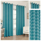 Teal Zig Zag Style Eyelet Ring Top Ready Made Lined Curtain Pairs Sizes New