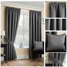 Ready Made Black Satin Textured Soft Curtain Tape Top Pencil Pleat Living Sizes