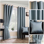 Luxury Duck Egg Blue Satin Curtains Soft Touch Ring Top Eyelet Ready Made Modern