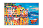 Colourful Boats and Town Oil Painting Re-Print on Poster Print Wall Art Pictures