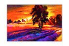 Abstract Sunset Over Tree Oil Painting Re-Print Poster Art Wall Decoration Print