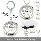 REMEMBRANCE IN MEMORY OF LOCKET KEYRING NECKLACE SILVER FLOATING CHARMS RIP