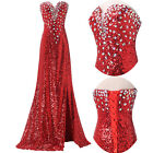 Split Long Sequins Wedding Prom Dress Formal Evening Ball Gown Cocktail Dresses.