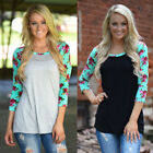 Women Ladies Casual Tops Loose Floral T-Shirt Fashion Long Sleeve Cotton Blouse