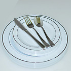 Dinner/ Wedding Disposable Plastic Plates & silverware Set, silver/ gold rim
