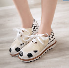 Brogue Womens Retro Lace Up Wing Tip Oxford College Style Flat Causal Shoes Dots
