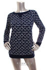 NEW CHARTER CLUB Women Long Sleeve Round Neck Cotton Top Navy White Size XS