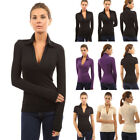 Womens Ladies Long Sleeve Polo Shirt Slim Fit Summer Casual Shirts Tops Blouses