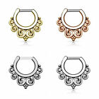 Surgical Steel Hinged Clicker Septum Nose Ring Hoop Body Piercing Jewelry