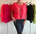 LAGENLOOK NEW MADE IN ITALY 100% LINEN POCKET TOP ONE SIZE FITS UP TO UK 18/20