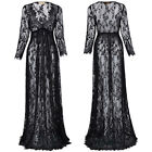 Ladies Maternity Evening Maxi Dress Long Sleeve Lace Black V-neck Party Formal