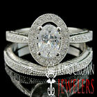 LADIES REAL STERLING SILVER GOLD FINISH BRIDAL ENGAGEMENT CELEBRITY RING BAND