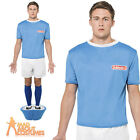 Subbuteo Football Blue Strip Stag Party Mens Soccer Fancy Dress Costume