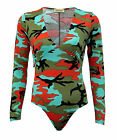 Ladies Womens Long Sleeve V Neck Army Camouflage Bodysuit Leotard Top Plus 8-14