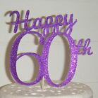 Plain or Glitter -  Happy 60th - Birthday CARD Cake Topper  sixty