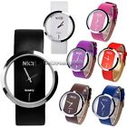 Fashion Cool Women Synthetic Leather Transparent Dial Lady Wrist Watch NC8901