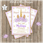 MAGICAL PURPLE FLORAL GOLD UNICORN BIRTHDAY PARTY PERSONALISED INVITATION x 1