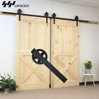 5-16 FT Single & Double Sliding Barn Door Hardware Kit Big Black Wheel Closet