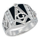 Mens Sterling Silver Cubic Zirconia Masonic Ring Rectangular Black Onyx 5/8 inch
