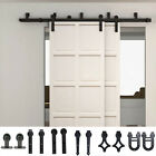 1.5M 2M 3M 4M 5M Bypass Sliding Barn Door Hardware Kit Rollers New Style Bracket