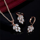 Women Fashion Jewelry Set Gold Plated Rhinestone Leaf Earrings Pendant NecklaceU