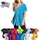Womens BASEBALL BUTTON DOWN Athletic Tee Short Sleeve Softball Jersey Active