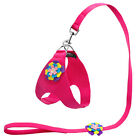 Flower Suede Leather Dog Collar and Leash Set for Small Dogs Poodle Chihuahua