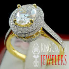 Sterling Silver Solitaire Bridal Wedding Ring Yellow Gold Finish Lab Diamond