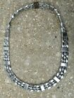 TRIPPLE 3 ROW Men's Powerful 100% Silver Magnetic Hematite NECKLACE Therapeutic