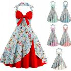 Womens Retro Floral 50s Rockabilly Pinup Dress Vintage Party Swing Evening Dress
