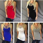 Multi Criss Cross Strappy Caged Front Or Back Reversible Stretch Cami Tank Top