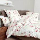Janine Mako Satin Bettwäsche Messina 135x200 cm Design 4861-01 rot ecru Blumen