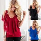 NEW Womens Solid V-neck Sleeveless T-Shirt Vest Tank Summer Casual Tops Blouse