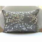 "Pearl Leaf Magic - Silver Art Silk 20""x26"" Standard Pillow Shams"