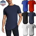 Mens HIPSTER Longline Basic Tee Casual Hip Hop Crewneck T Shirt Big And Tall image